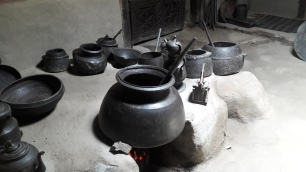 Metal pots in the Royal Kitchen